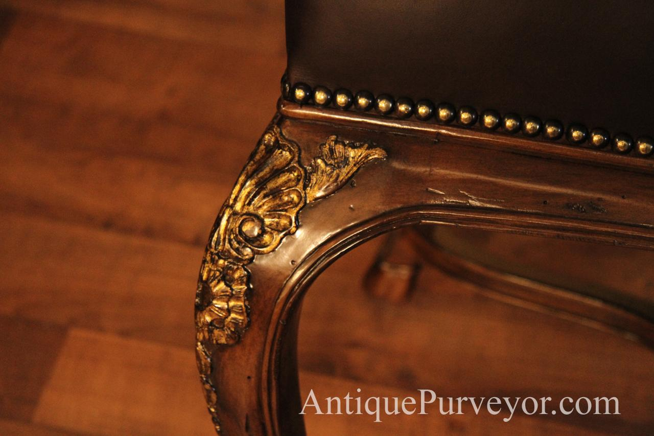 Brown Hair Hide And Embossed Leather Upholstered Captain Chairs - Upholstered dining room arm chairs