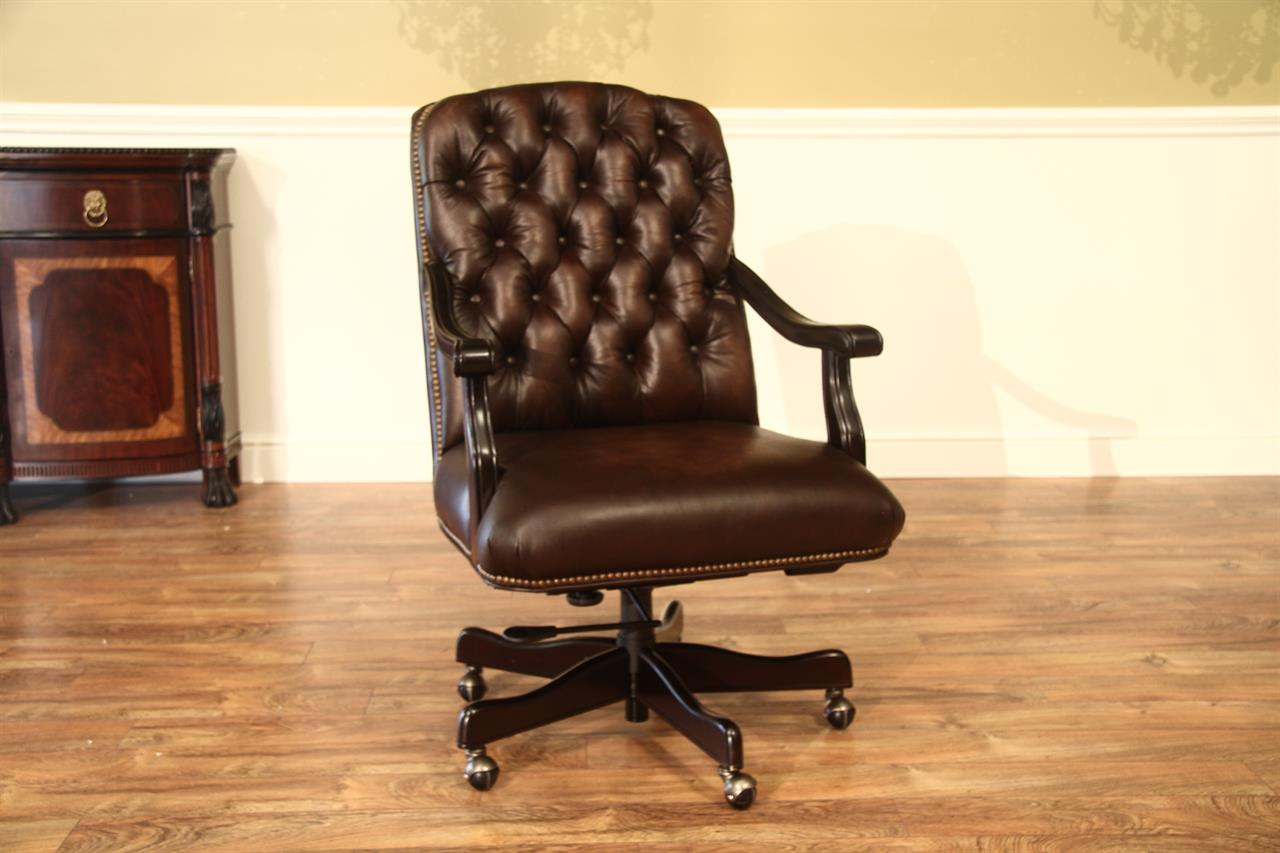 Brown Tufted Leather Camel Back Executive Chair With Brass Nails