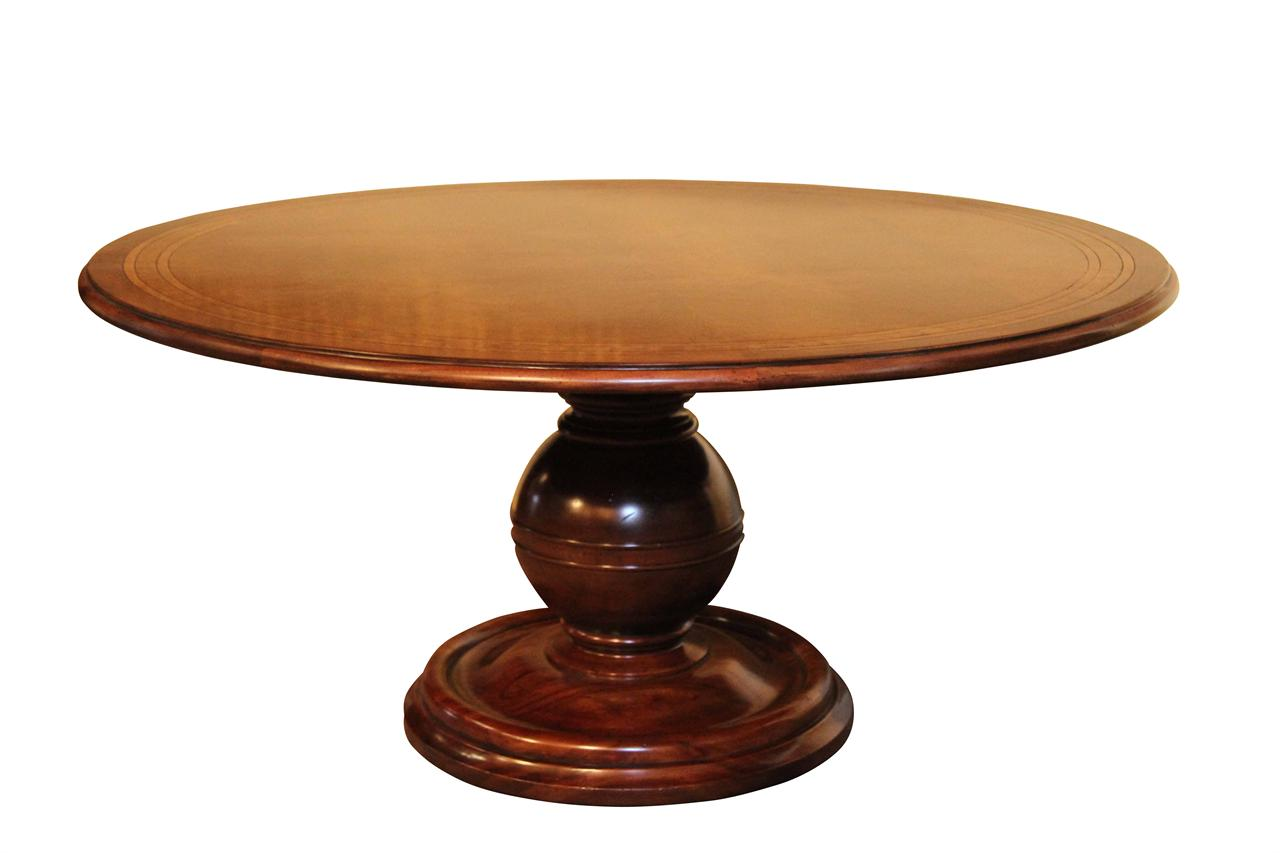 64 round casual mahogany kitchen table pedestal dining table - Pedestal kitchen tables ...
