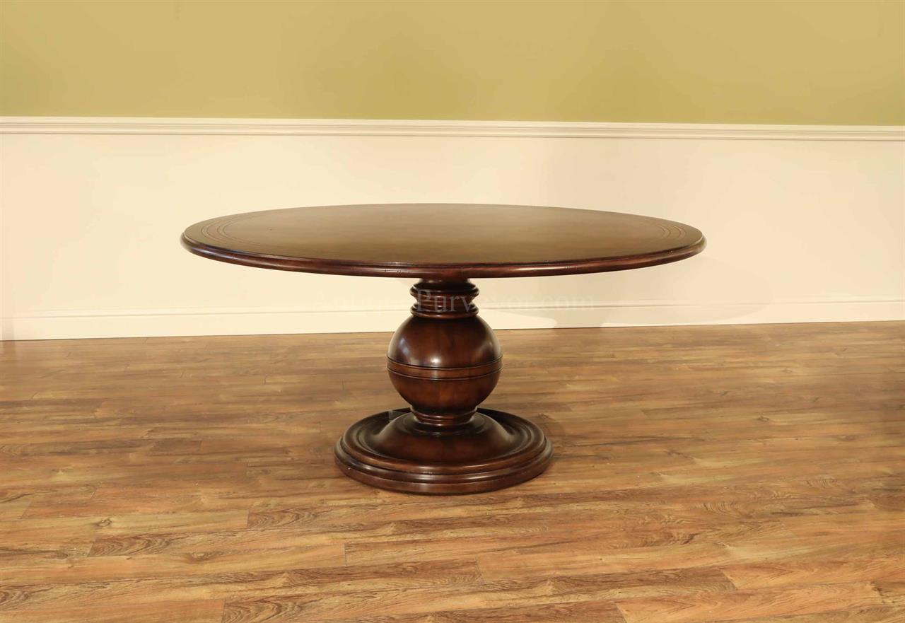 Casual 64 inch Round Mahogany Kitchen or Dining Table