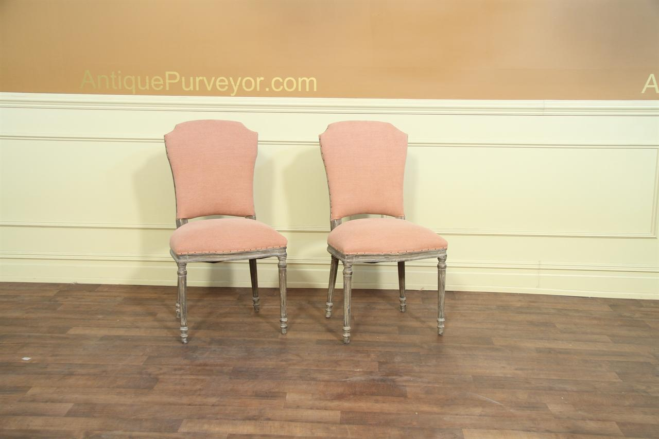 Set of 8 Casual Upholstered Dining Chair with Peach Pastel Fabric