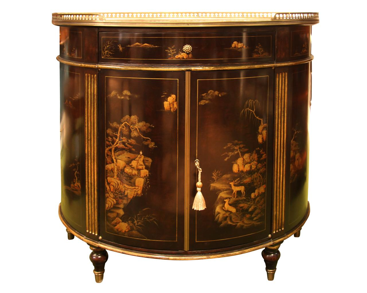 Chinoiserie Demilune Or Bow Front Side Cabinet
