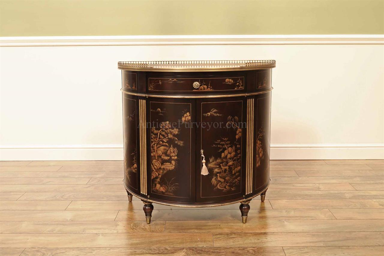 Chinoiserie Demilune Ebonised Walnut And Gold Hand Painted