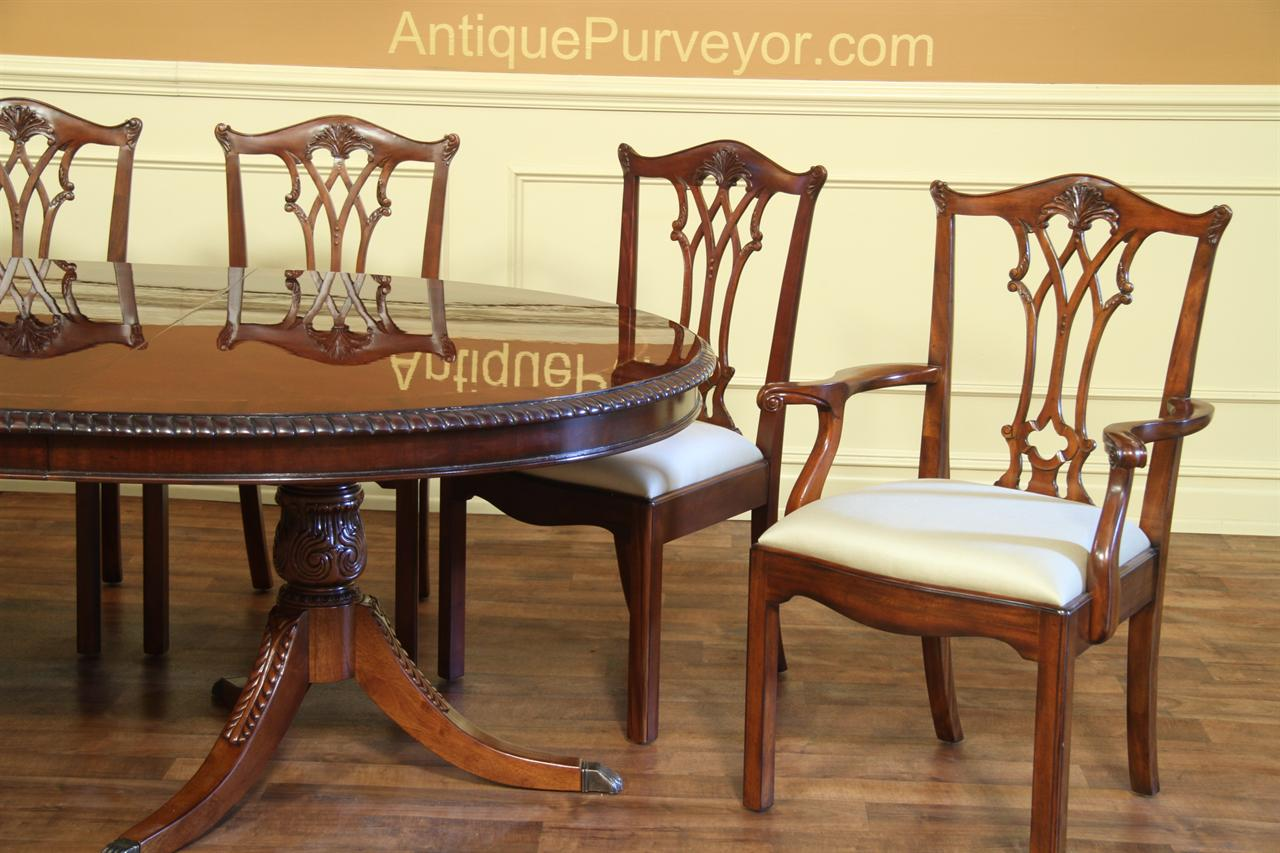 Chippendale Dining Chairs, Solid Mahogany Straight Leg Chairs - Antique Reproduction Solid Mahogany Chippendale Dining Chairs