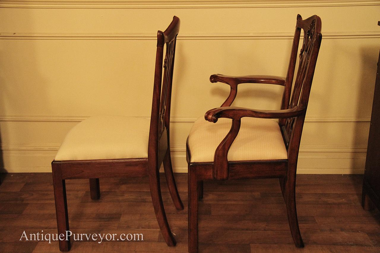 Chippendale Dining Chairs, Solid Mahogany Straight Leg Chairs