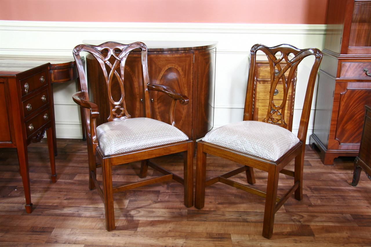 Mahogany furniture at the galleria for Dining room end chairs