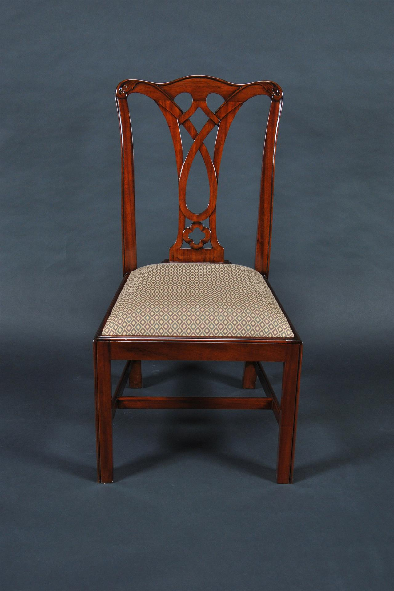simple chippendale mahogany straight leg dining chair 6