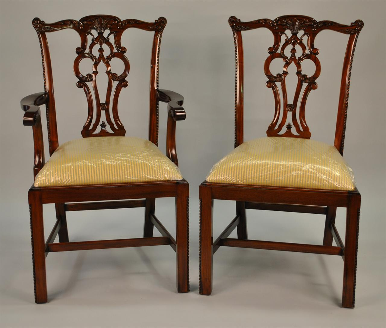 Chippendale Mahogany Dining Room Chairs: Chippendale Solid Mahogany Straight Leg Dining Room Chairs