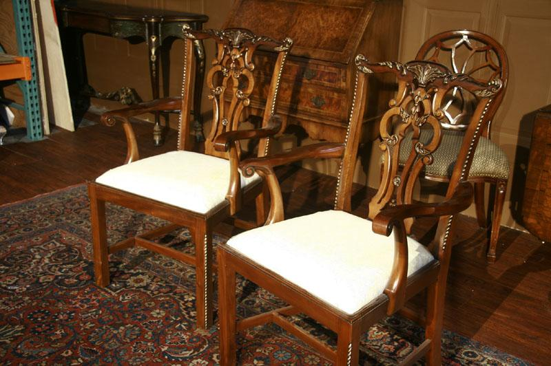 Chippendale Solid Mahogany Straight Leg Dining Room Chairs-Sullevin
