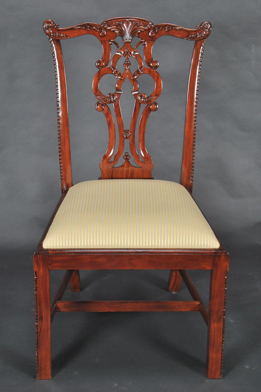 Chippendale Solid Mahogany Straight Leg Dining Room Chairs