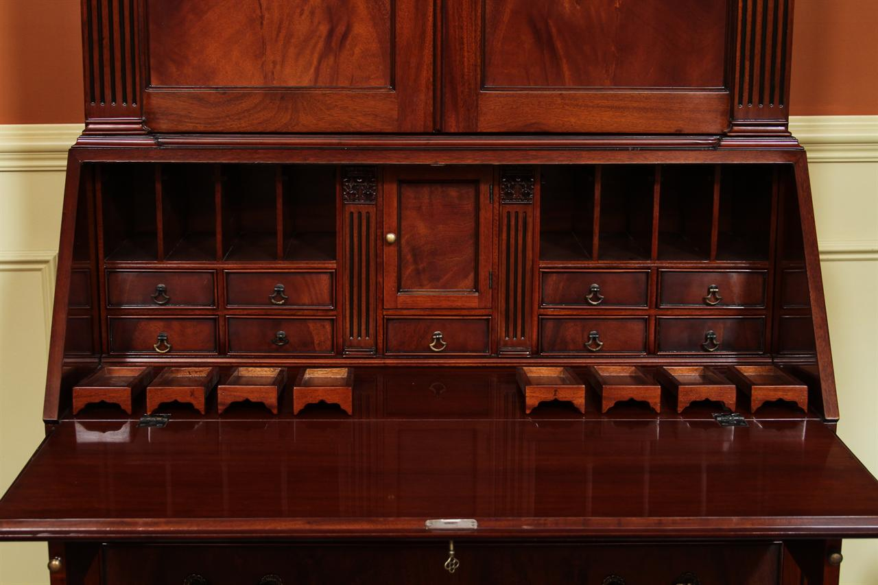 Antique Style Secretary Desk, high end mahogany secretary desk - Antique Style Secretary Desk, Colonial Secretary Desk