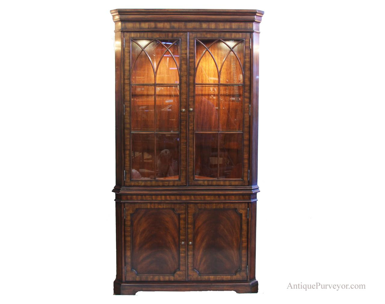 Corner China Cabinet Shown With Lights
