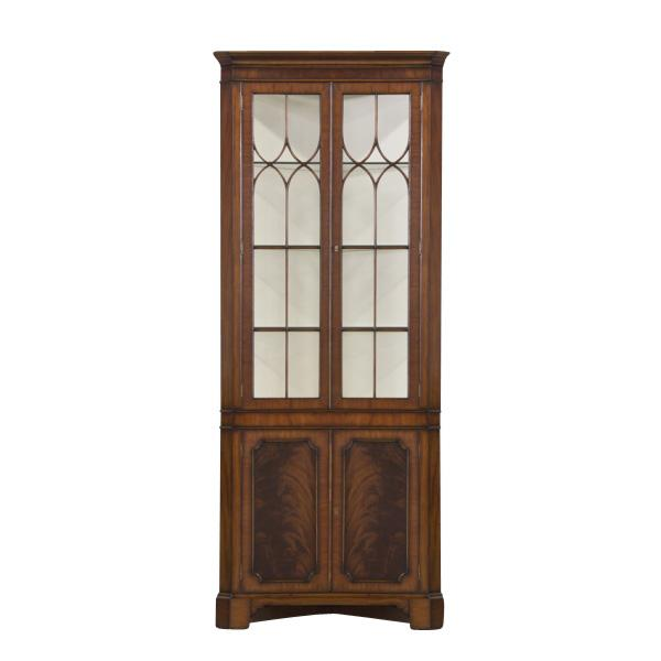 Merveilleux Mahogany Corner China Cabinet With Glass Shelves