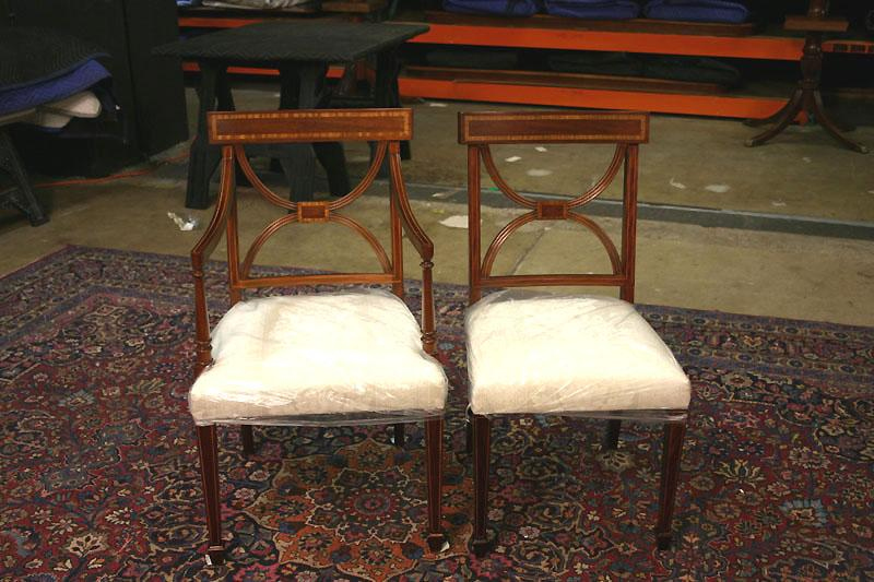 Cross Back Dining Room Chairs. Banded Satinwood on Solid Mahogany