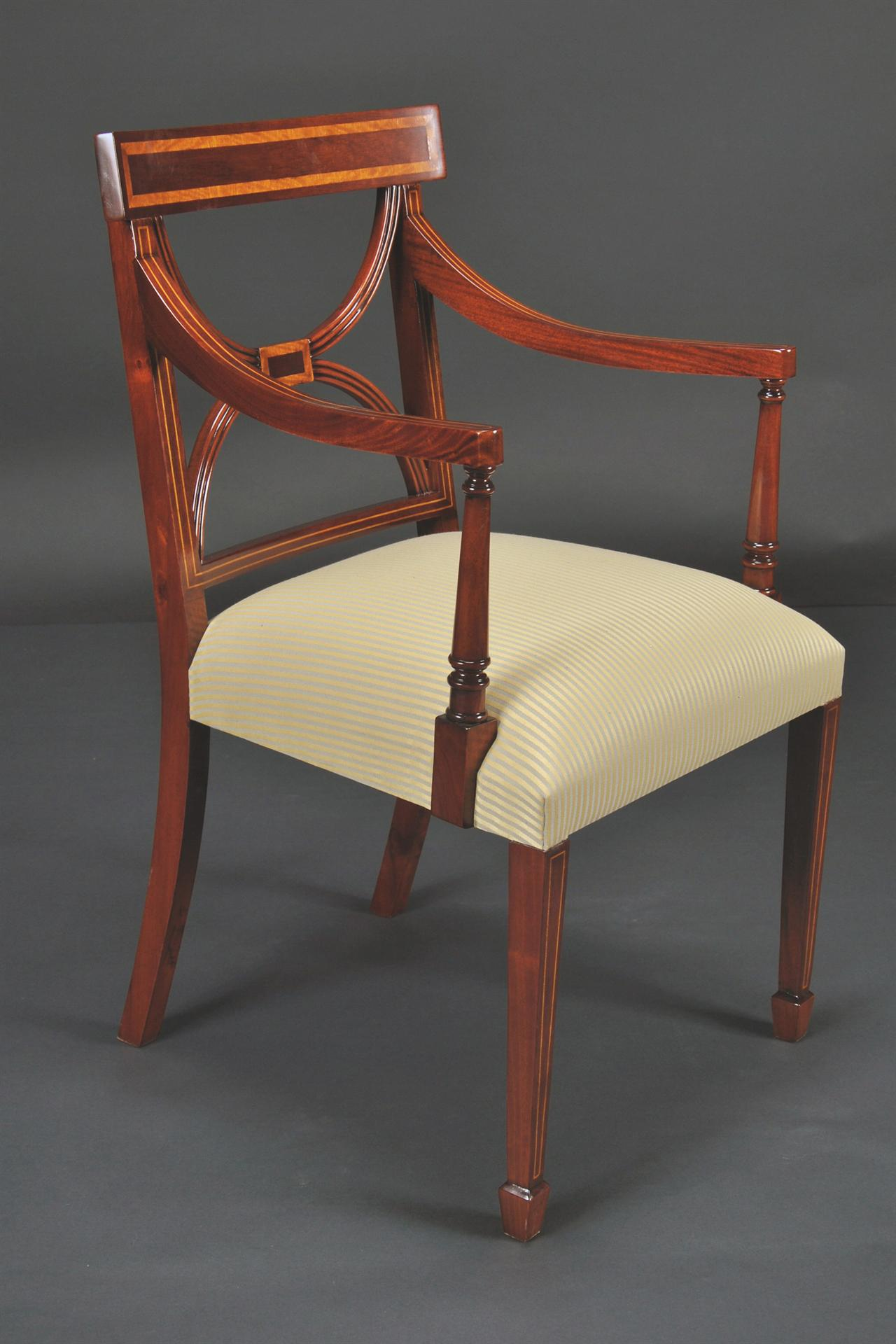Cross Back Dining Room Chairs Banded Satinwood On Solid Mahogany