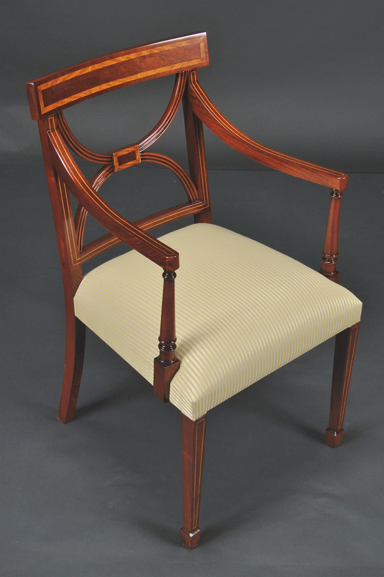 Cross Back Dining Room Chairs Banded Satinwood On Solid