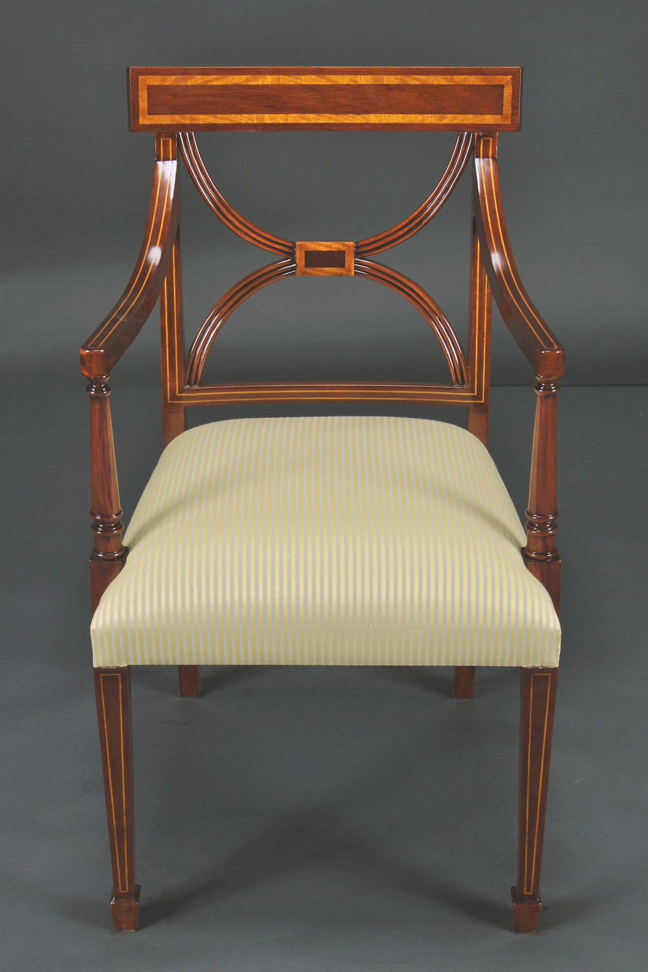 cross back dining room chairs banded satinwood on solid mahogany 3 arm chairs ebay. Black Bedroom Furniture Sets. Home Design Ideas