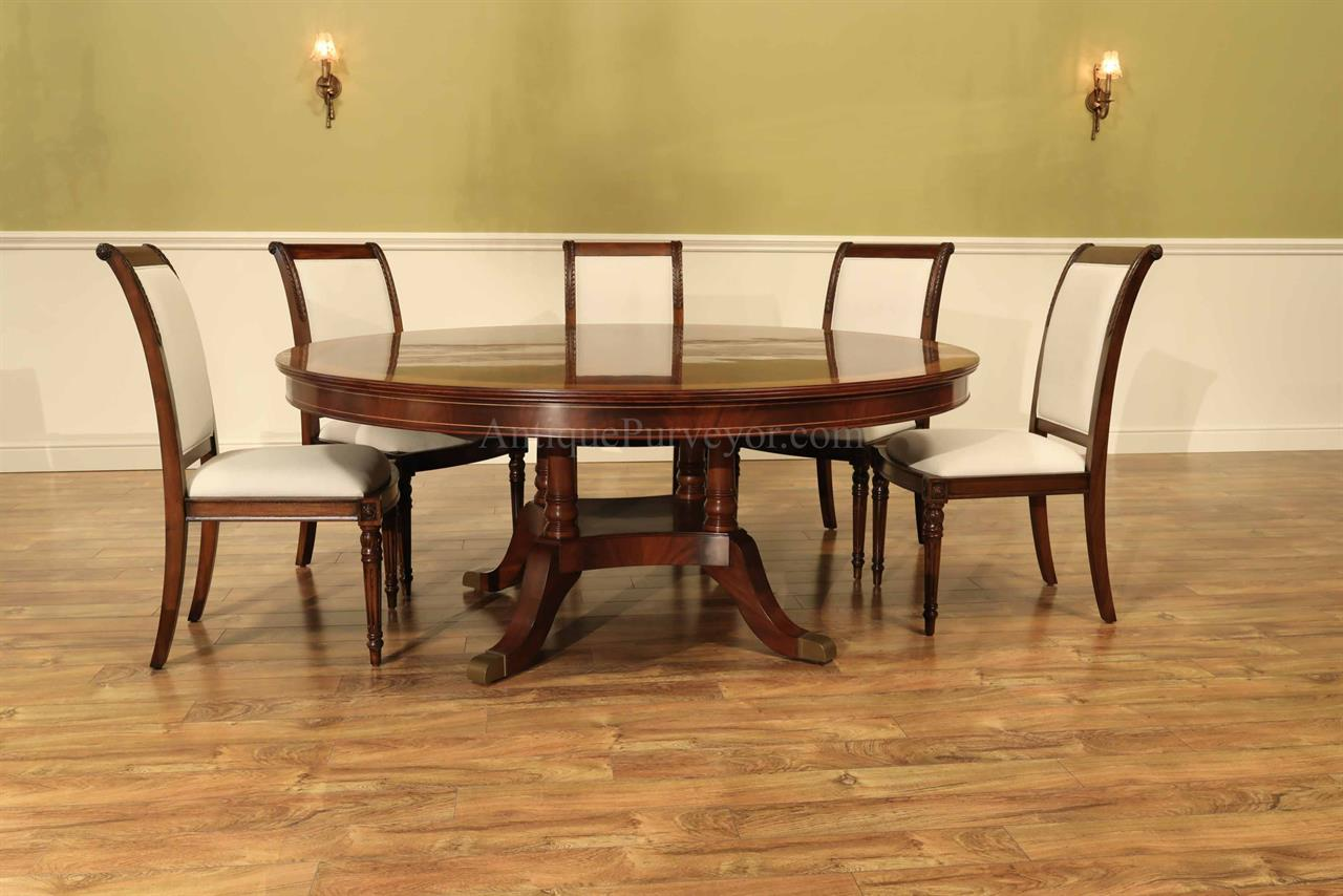 Custom 72 Inch Round Dining Table With Self Storing Leaf