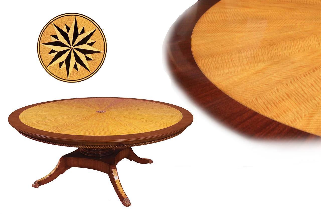 custom american made large round satinwood and mahogany dining table