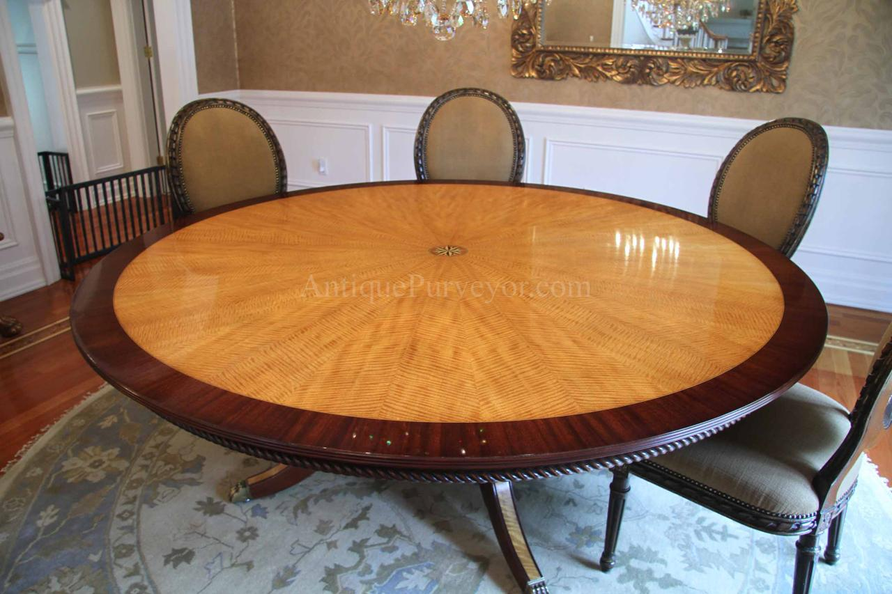 American made, custom 84 round mahogany and satinwood dining table
