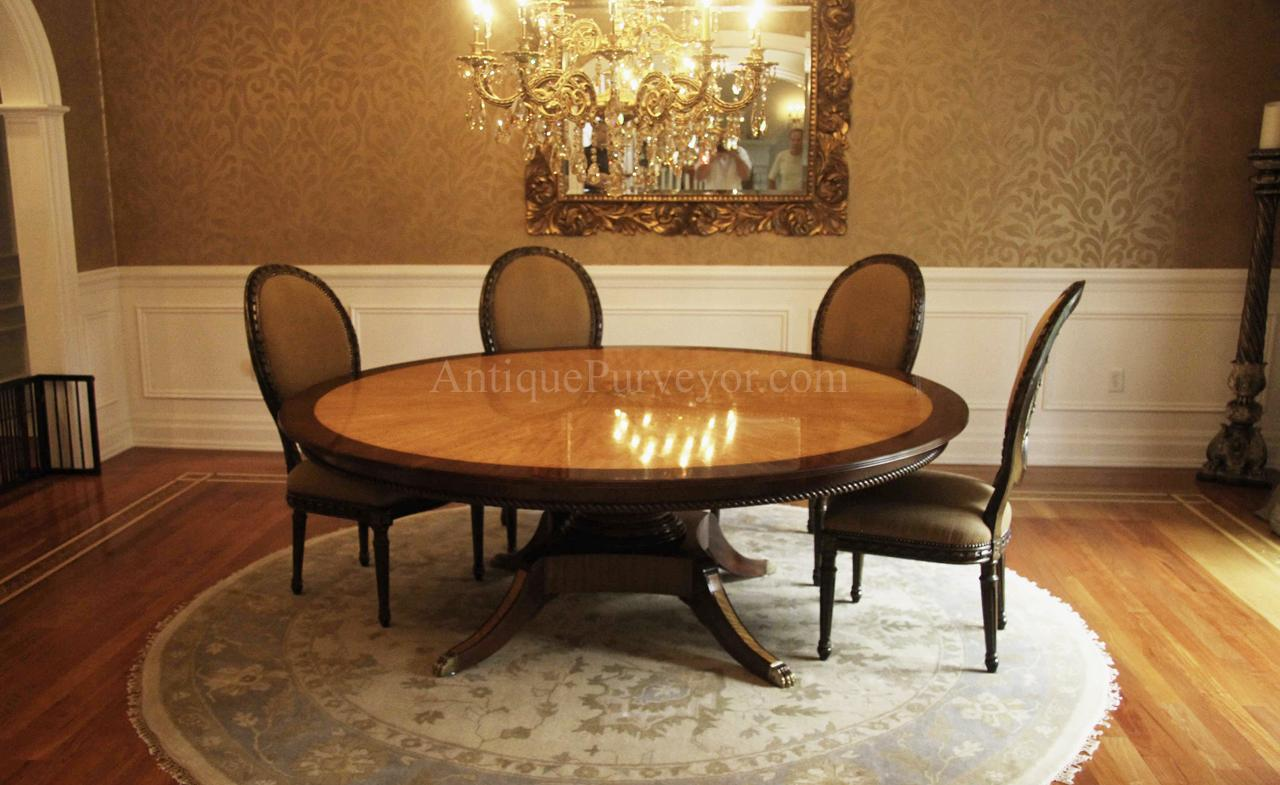 custom american made 7ft round satinwood & mahogany dining table 7 Foot Dining Table