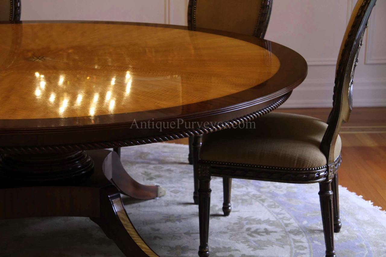 Custom American Made 7ft Round Satinwood Mahogany Dining Table