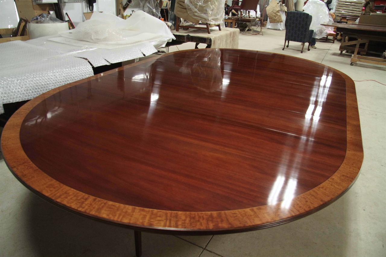 Custom Mahogany Table With Solid Base 84 Round Expands To 12 Foot Oval