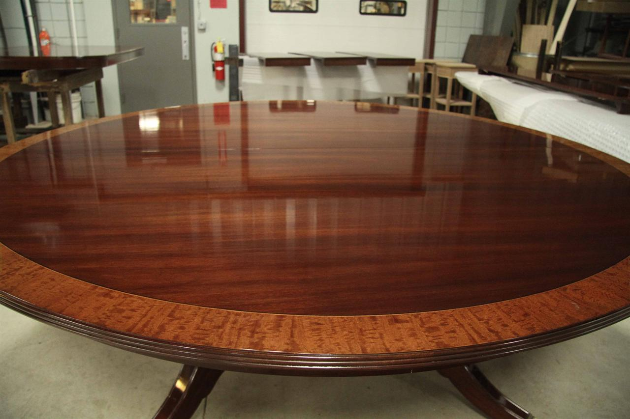 Custom american made 84 inch round mahogany dining table for Unique round kitchen tables