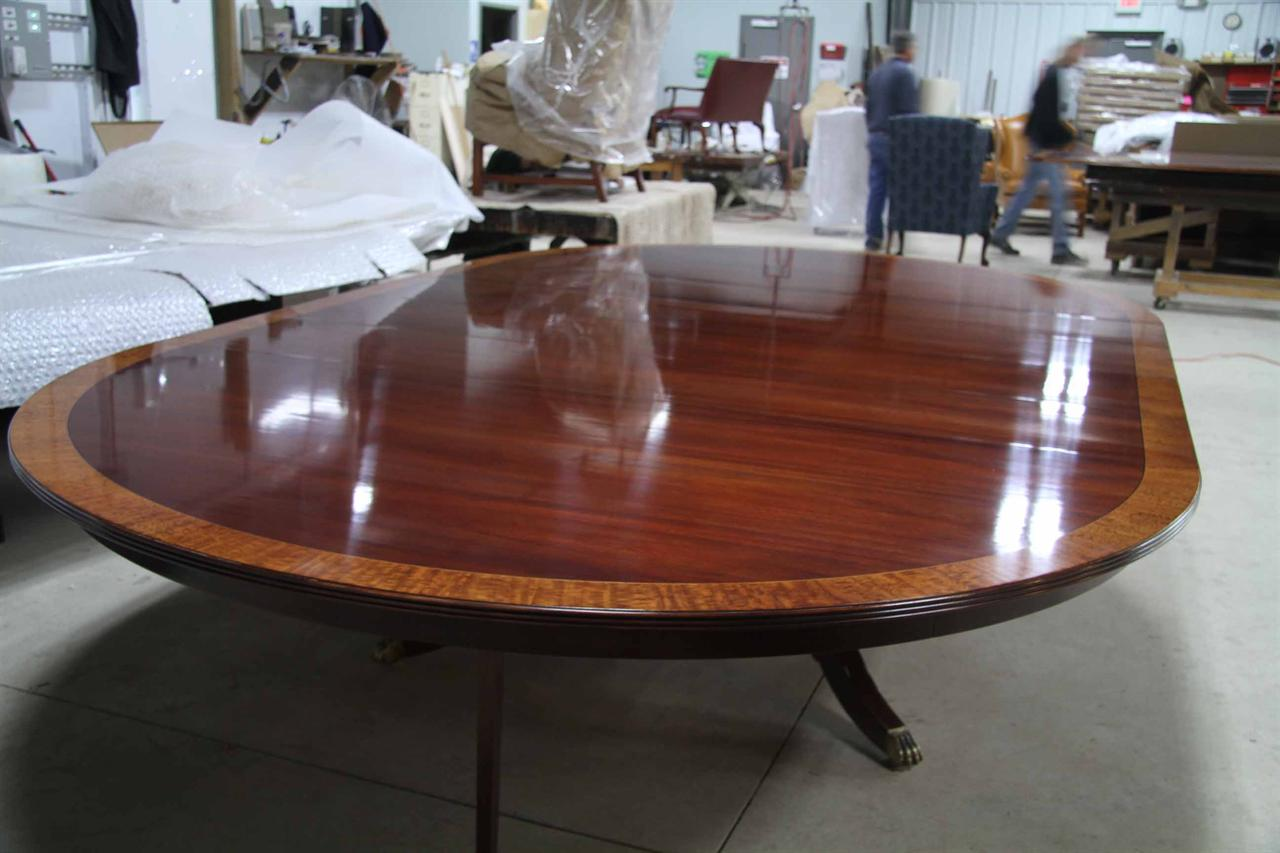 Custom American Made 84 Inch Round Mahogany Dining Table