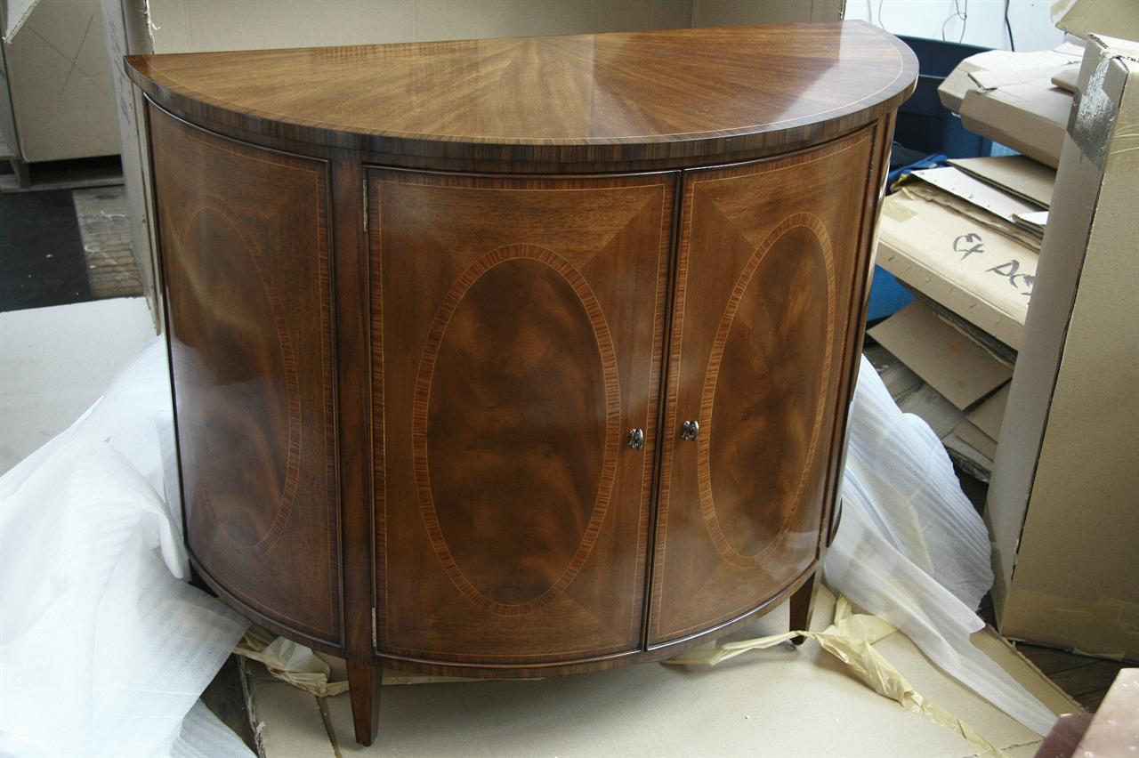Demilune Accent Table With Two Doors