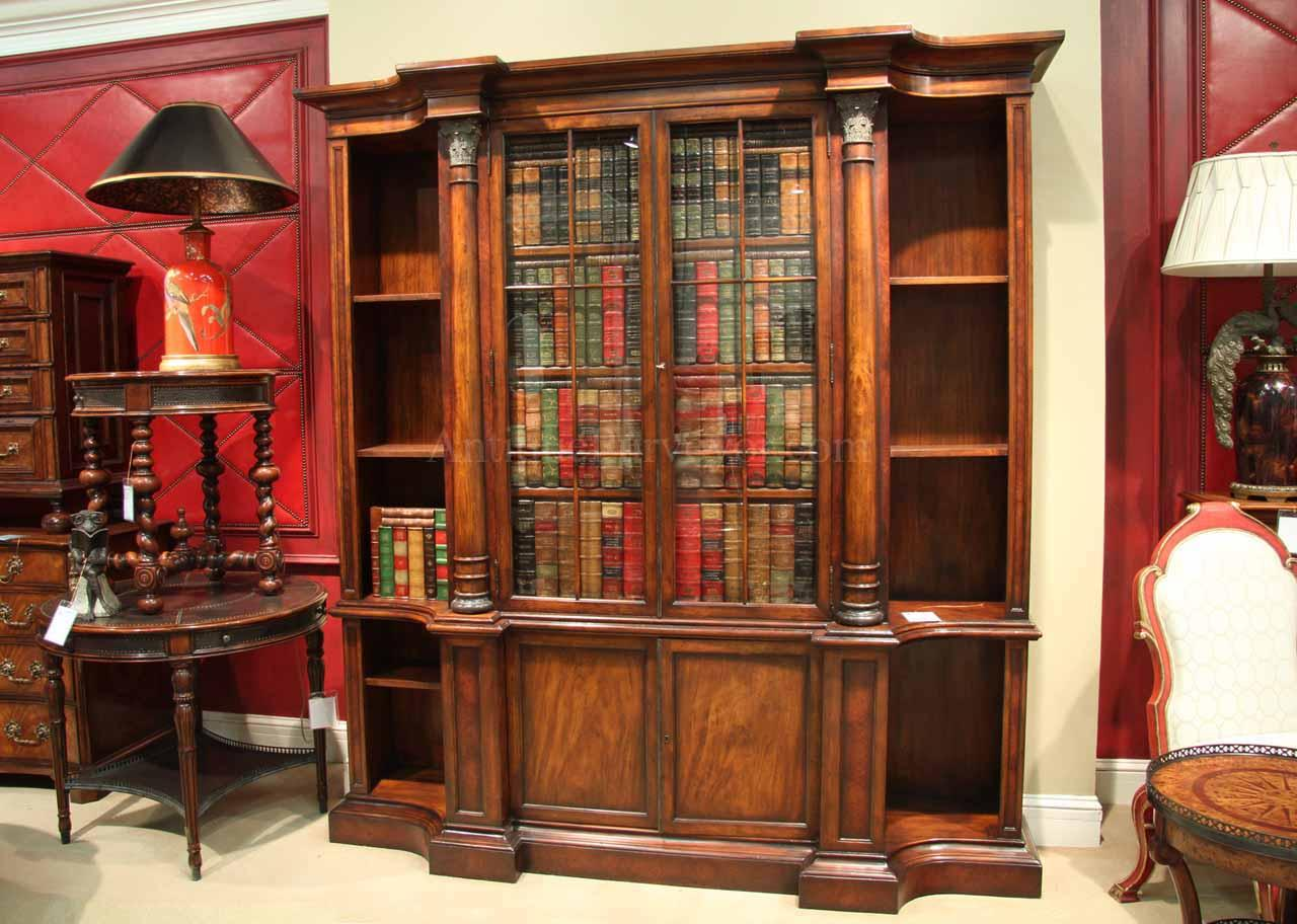 Antique Style Mahogany Bookcase With Glass Doors