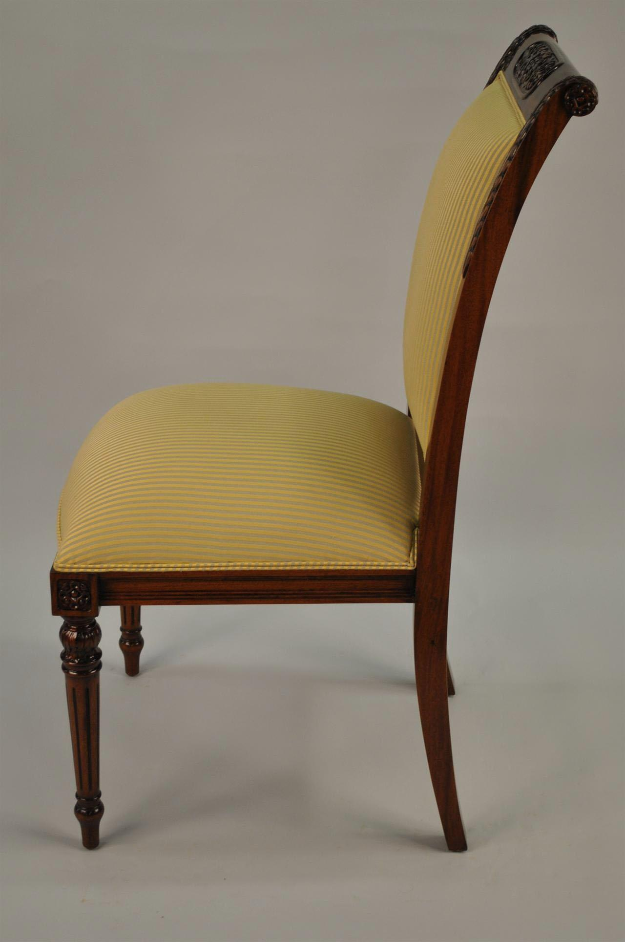 8 High End Gold Leaf Accented Mahogany Dining Chairs 8 Side Chairs Gold Lea