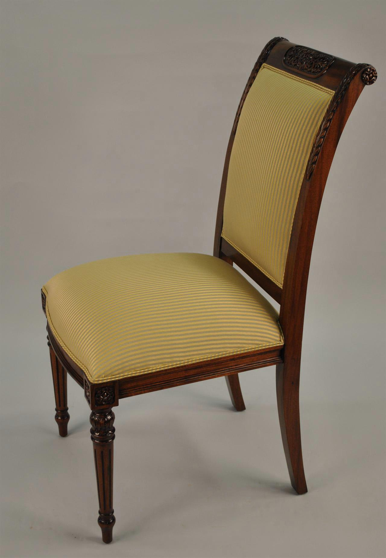 8 High END Gold Leaf Accented Mahogany Dining Chairs 8 Side Chairs