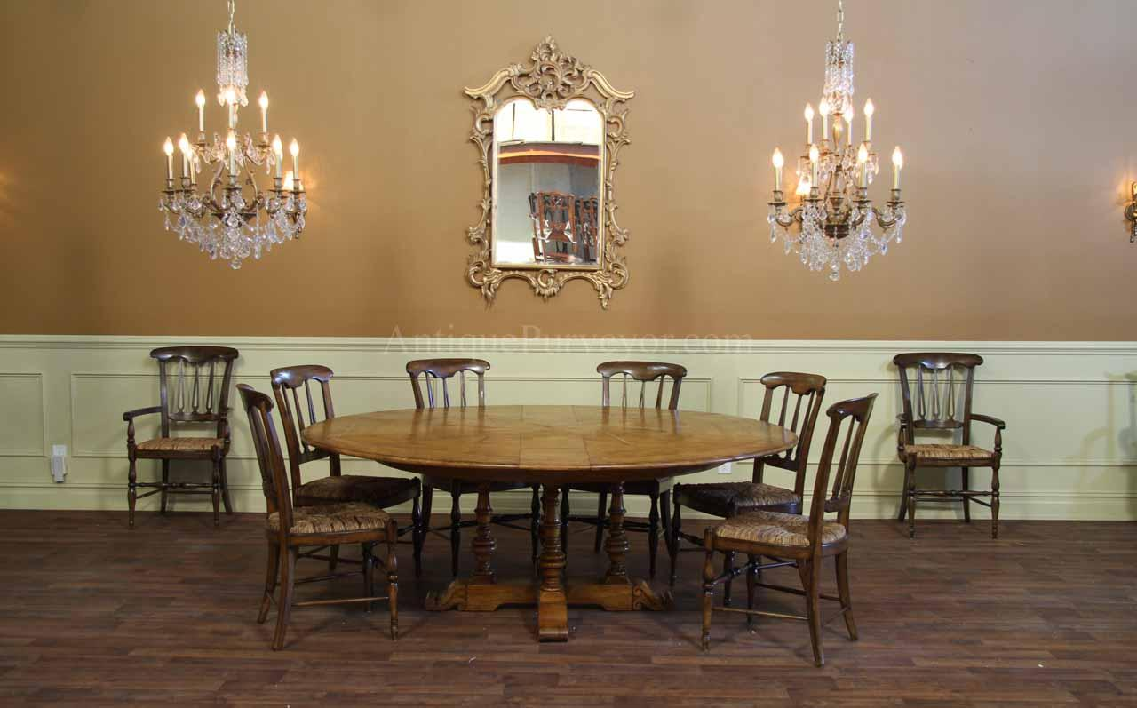 64 inch to 84 inch round solid oak dining room table with for Oak dining room table