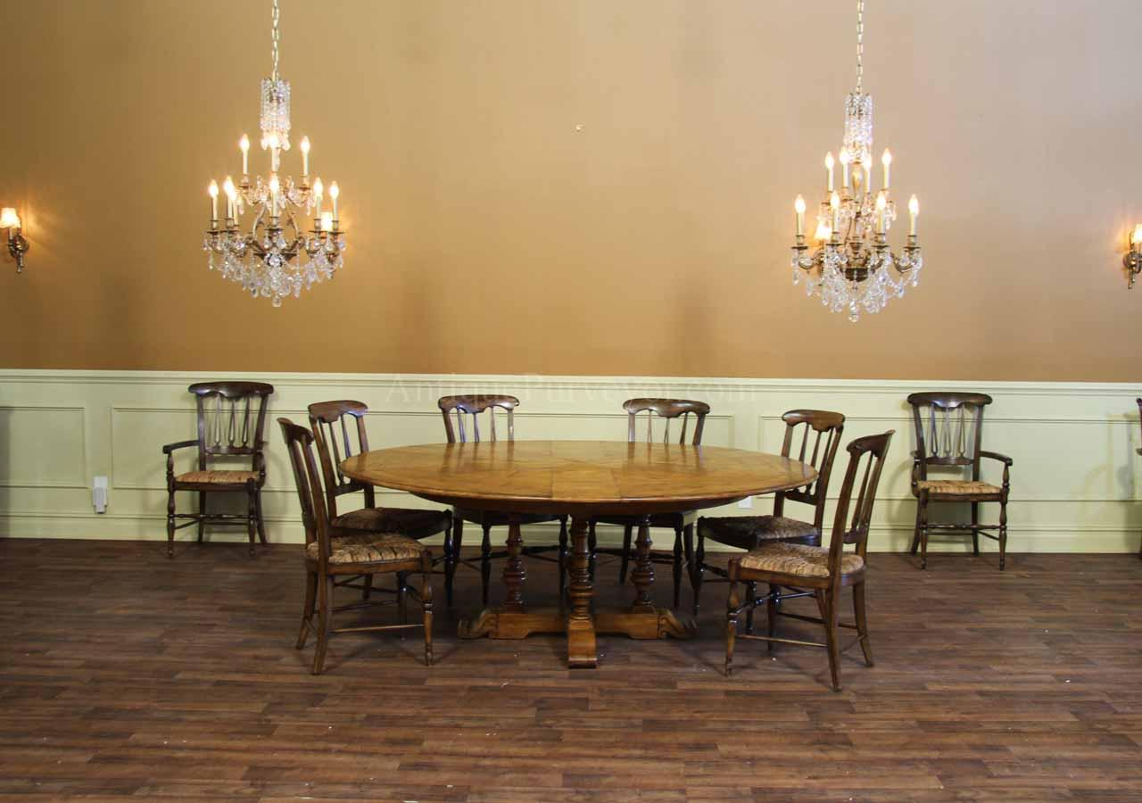 round solid oak dining room table with hidden leaves
