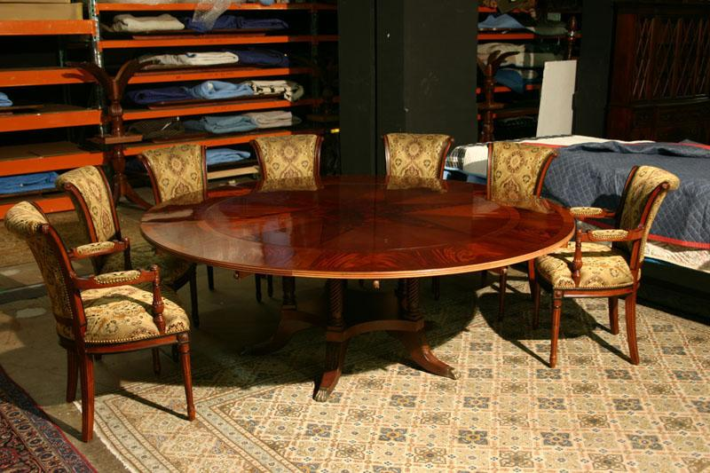 Designed for Round Dining Tables. Hand Painted Details. - Mahogany Directoire Chairs, Solid Mahogany French Style Chairs