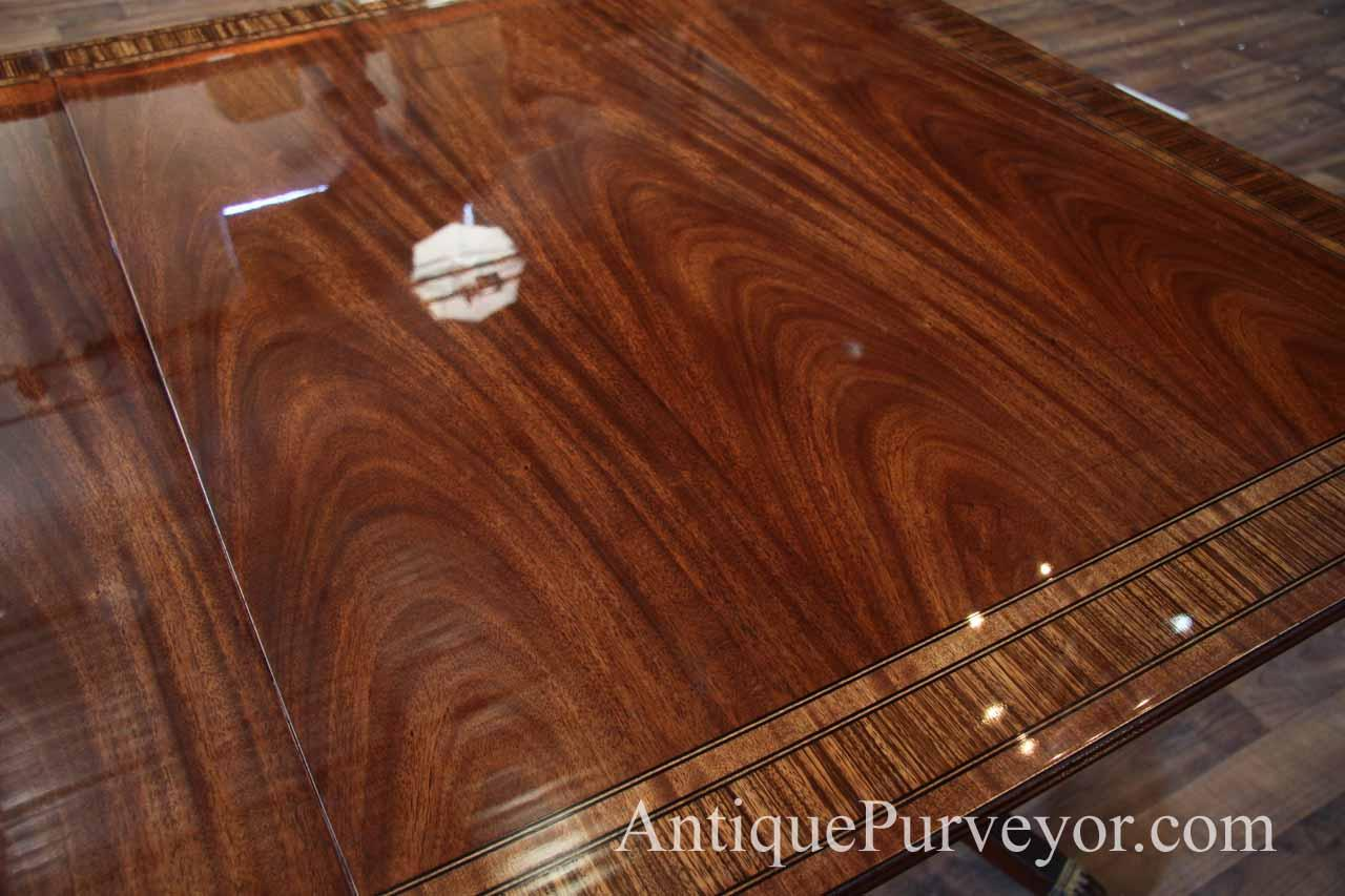 double pedestal dining table with 2 leaves high end american made mahogany ebay. Black Bedroom Furniture Sets. Home Design Ideas