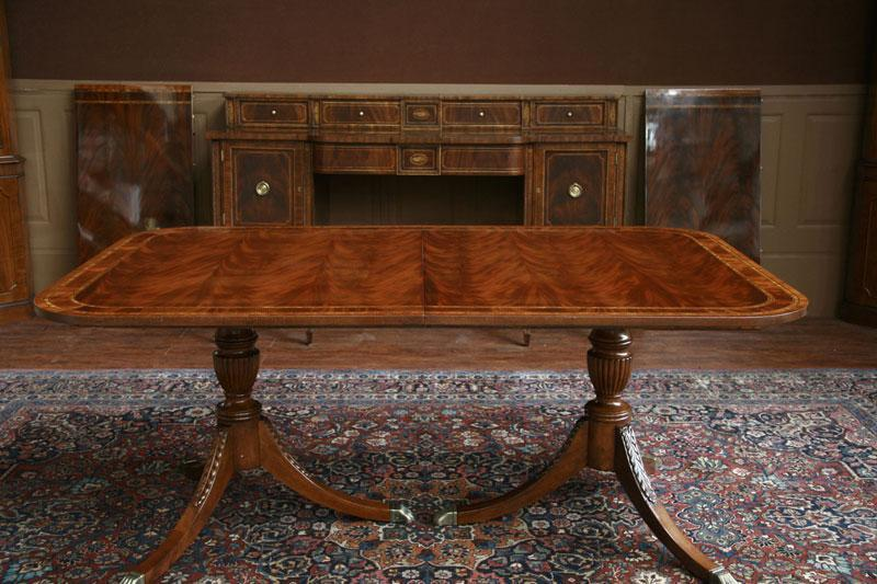 Double Pedestal Duncan Phyfe Dining Room Table | American Made