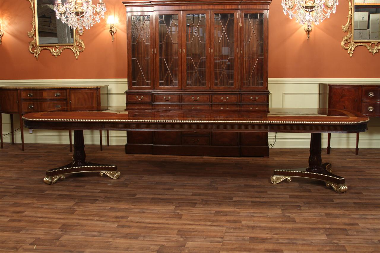 Extra Large And Wide Regency Style Mahogany Dining Table Shown With All Three Leaves In Place