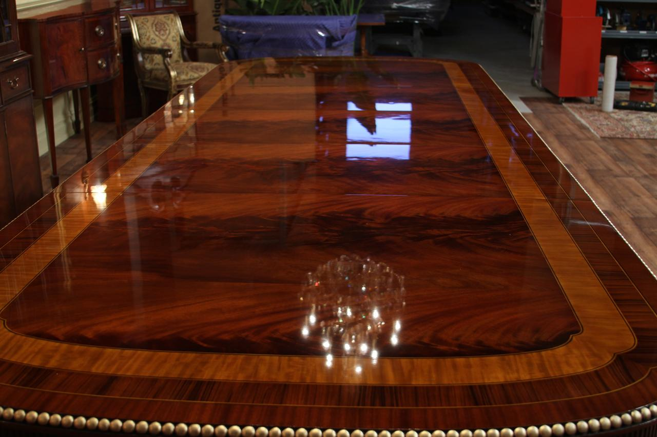 Extra large mahogany duncan phyfe dining room table with 3 for Expensive dining tables