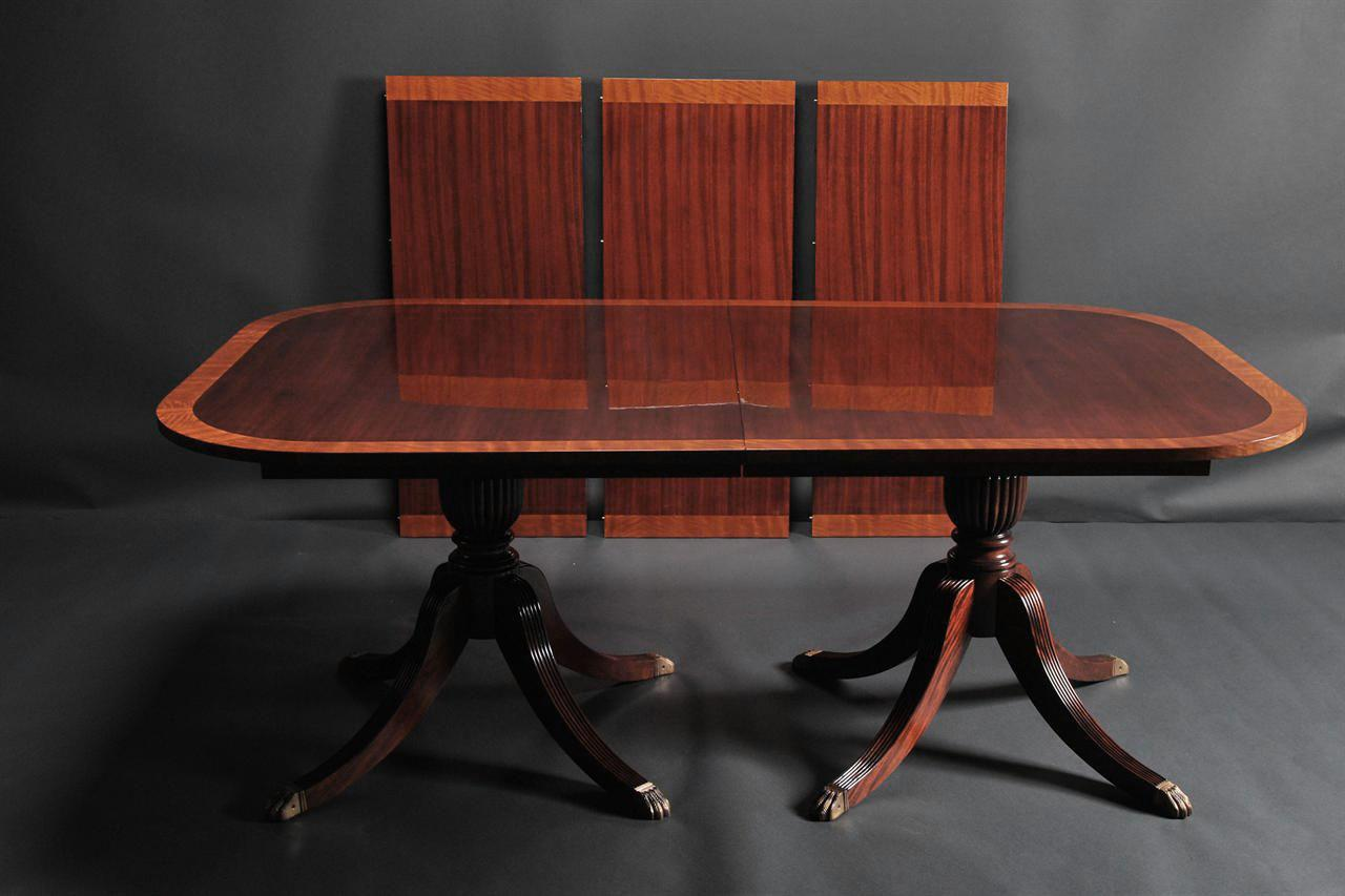 Traditional formal red mahogany dining table seats 14 people for Red dining table