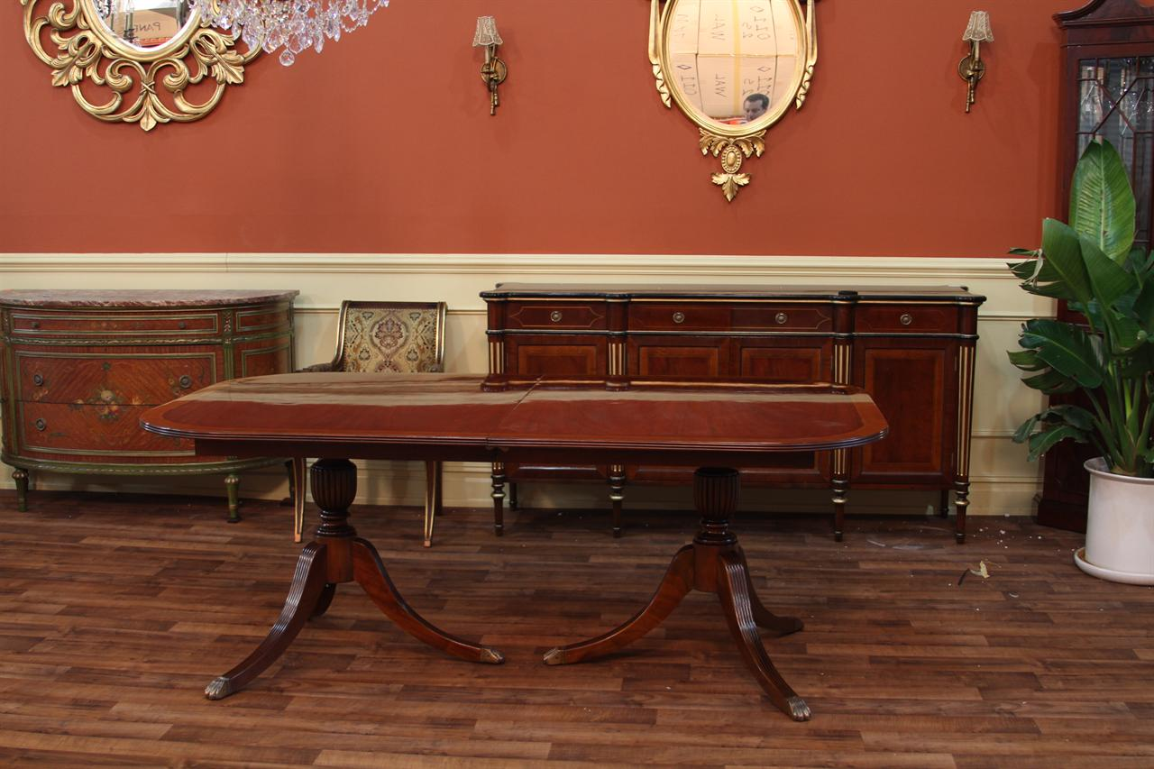Duncan Phyfe Style Double Pedestal Dining Table - Reproduction