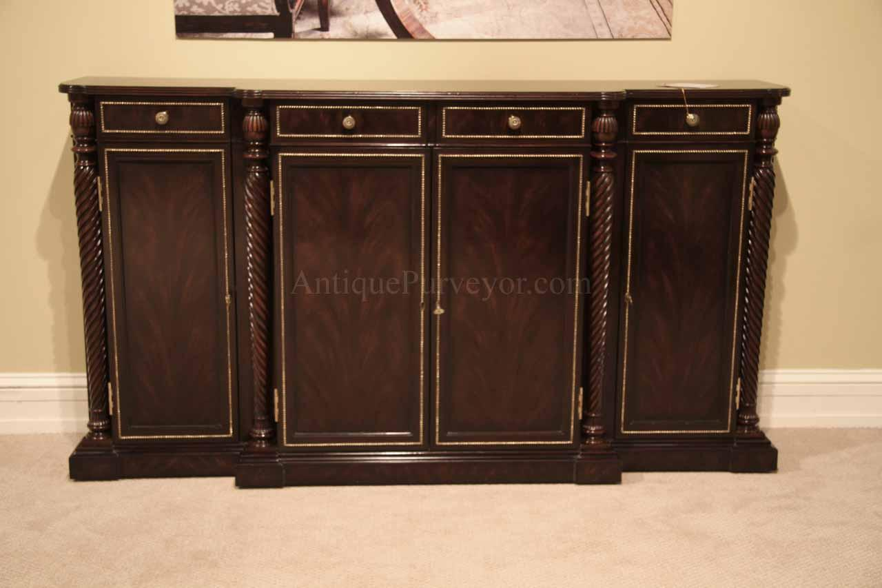 Ebony and brass dining room sideboard narrow buffet cabinet for Dining room sideboard