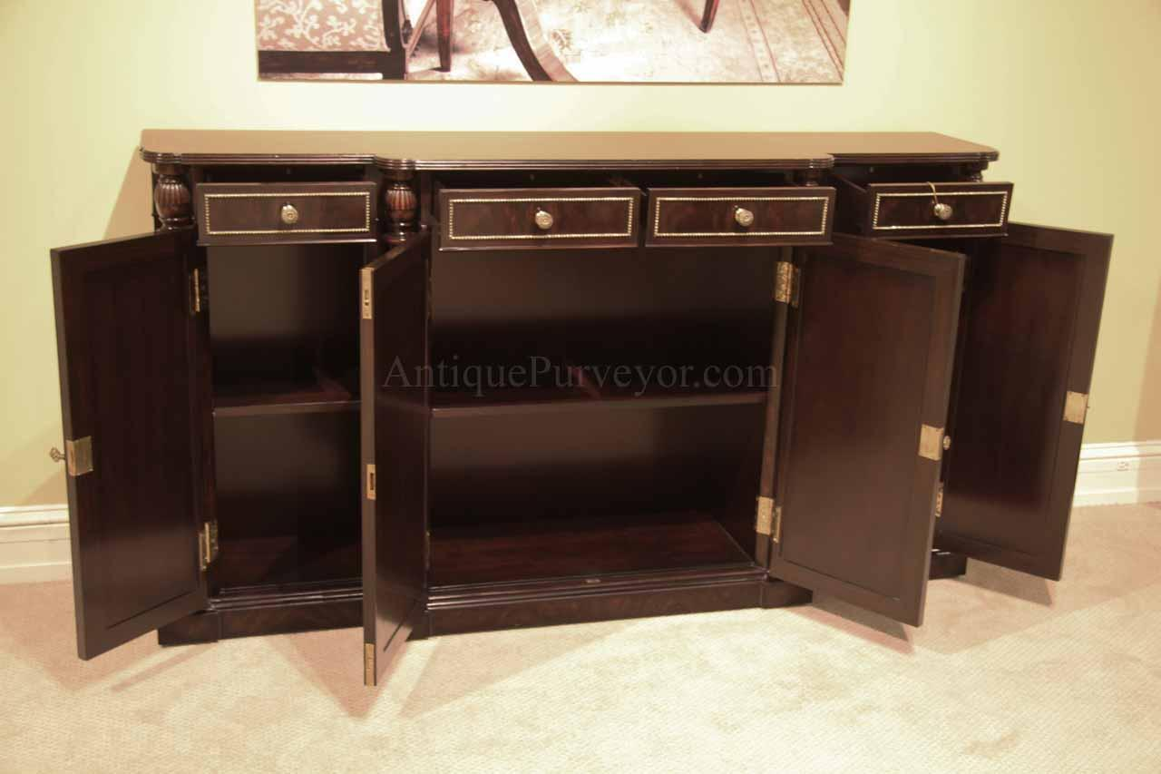 Ebony and brass dining room sideboard narrow buffet cabinet