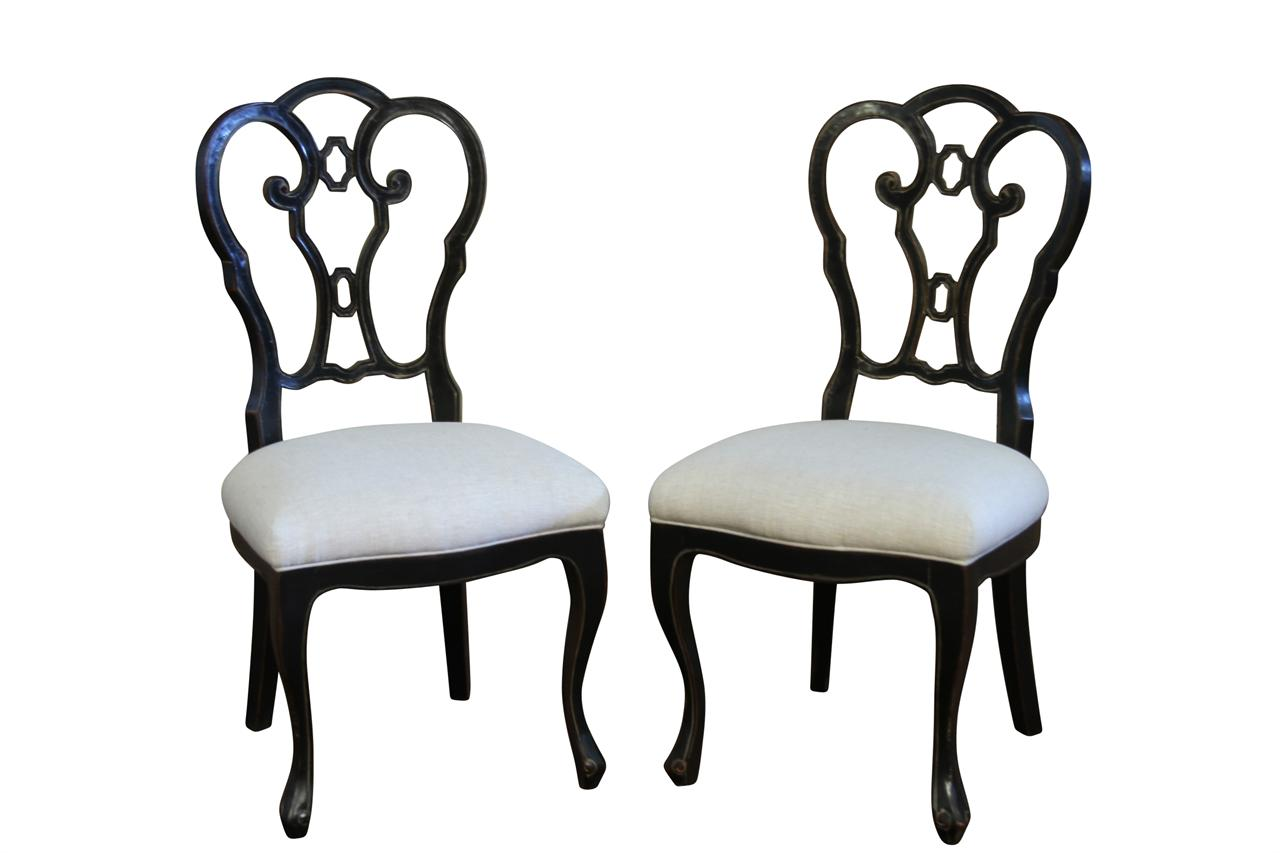 Italian Ebonzied Casual Or Transitional Dining Chairs