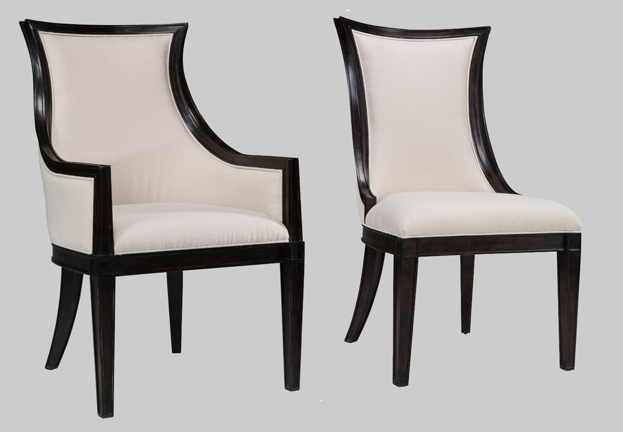 Ebonized Solid Oak Transitional Upholstered Back Dining Chairs