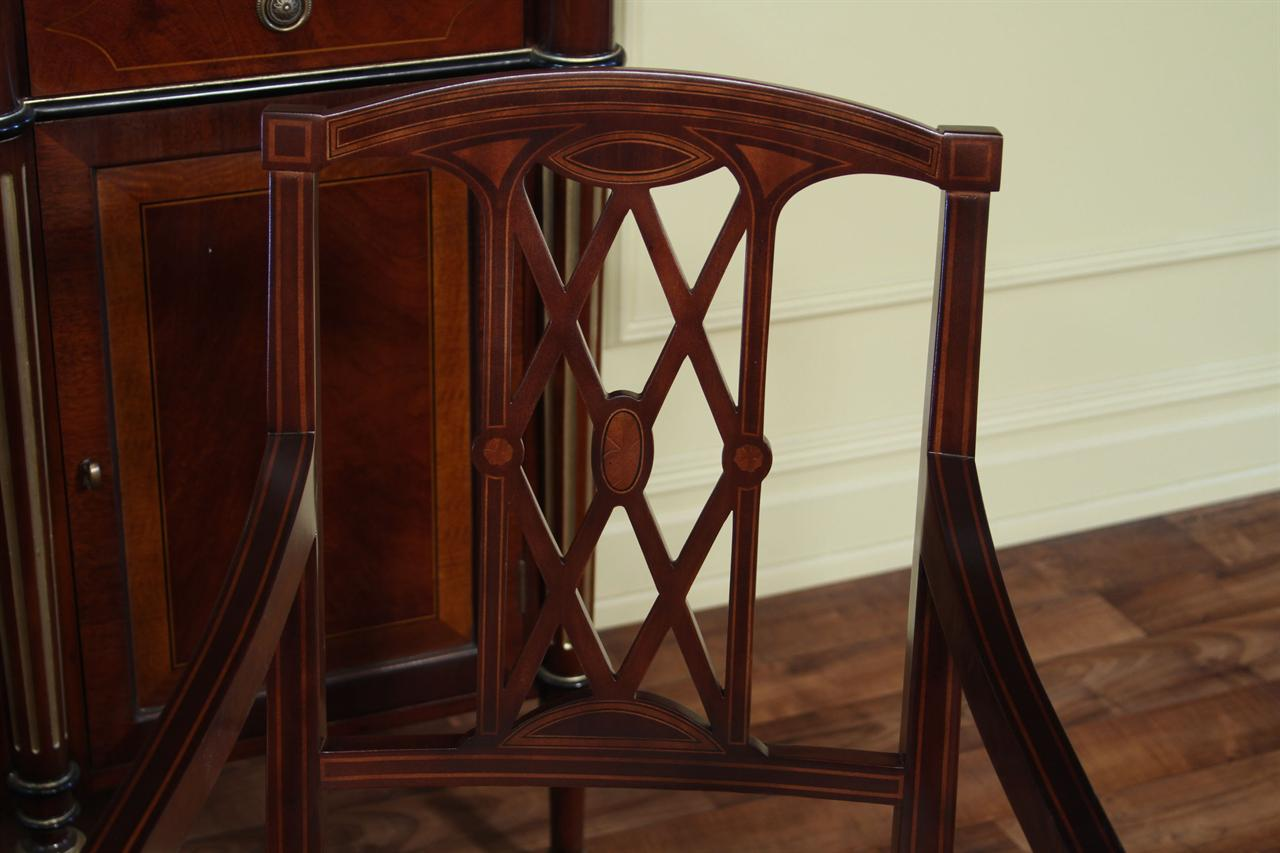New Finish On These Chairs Feature Darker Satinwood Inlays