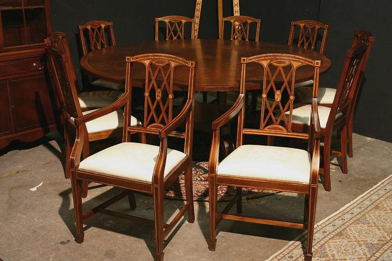 edwardian inlaid solid mahogany dining room chairs. federal or