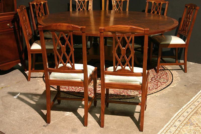 Edwardian Inlaid Solid Mahogany Dining Chairs Federal Georgian Style