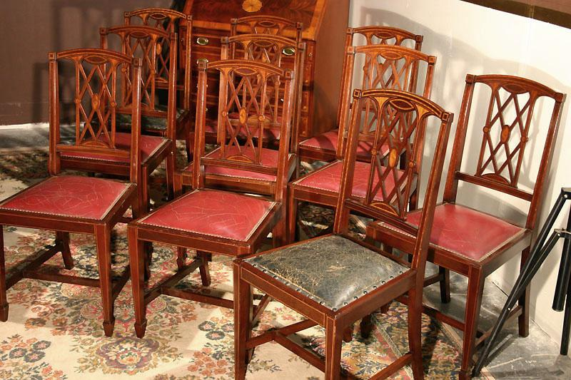 Edwardian Inlaid Solid Mahogany Dining Room Chairs. Federal or ...